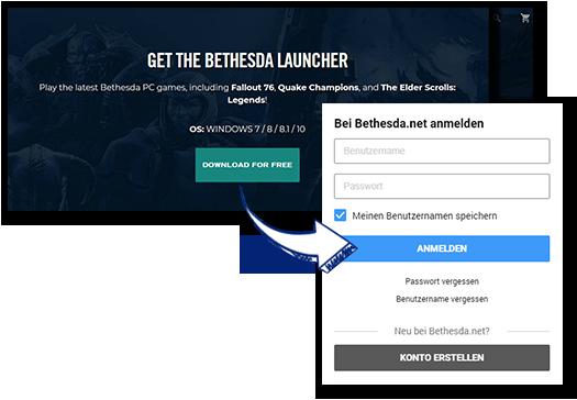 Download / Installiere / Öffne den Bethesda Launcher Client