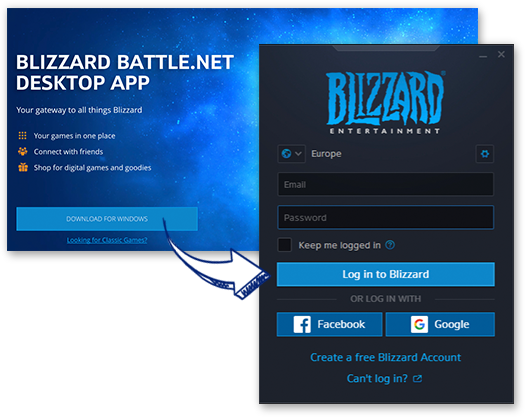 Download / Installation / Starten des Battle.net Clients