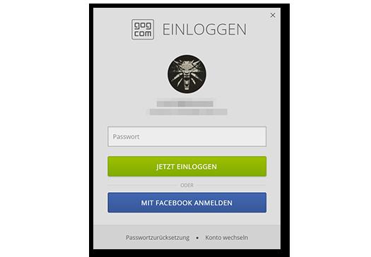 Einloggen mit dem GOG Galaxy-Launcher-Client